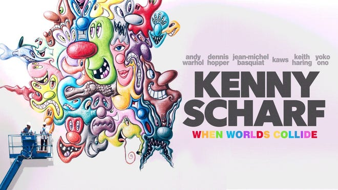 """A promotional poster for """"Kenny Scharf: When Worlds Collide."""""""