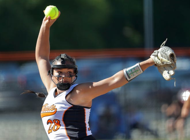 Kaukauna pitcher Skyler Calmes is 12-1 this season with a 1.66 ERA. The Ghosts battle Wilmot in a WIAA Division 1 state softball quarterfinal at Bay Port High School today at noon.