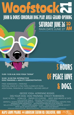 Woofstock will begin at 10 a.m. on Saturday, June 26 (June 27 is the rain date) at the new John & Doris Corcoran Dog Play Area Grand Opening located at Maple Grove Prairie, 44 Anderson Station Road in Chillicothe.