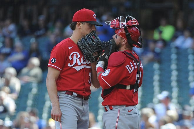 """""""I think in a way the first month was like his spring training because he was kind of delayed a little bit,"""" catcher Tucker Barnhart said of Lucas Sims. """"He was battling through some stuff, just getting out there and getting innings under his belt because he didn't throw as much in the spring."""""""