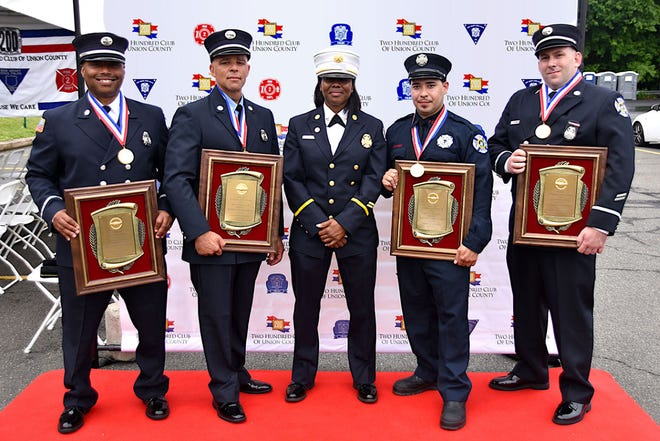 Plainfield Fire Lt. Melvyn Armstead, Lt. Glenn Robinson,  Battalion Chief Selket Damon,  Firefighter Gabriel Ocasio and Lt. John Coppola at the 200 Club of Union County Valor Awards events. Missing from the photo is Firefighter Hassan Sanders who also received a valor award.