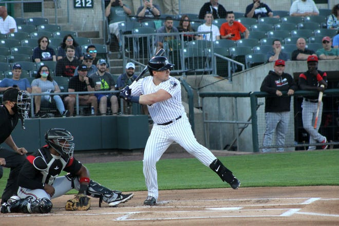 New York Yankees first baseman Luke Voit bats against the Richmond Flying Squirrels during his rehab assignment with Double-A affiliate Somerset Patriots.
