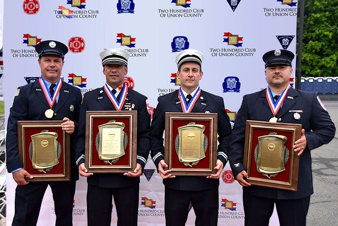 Members of the Rahway Fire Department who were recipients of the 200 Club of Union County's Valor Awards during a ceremony held at the John H. Stamler Police Academy in Scotch Plains
