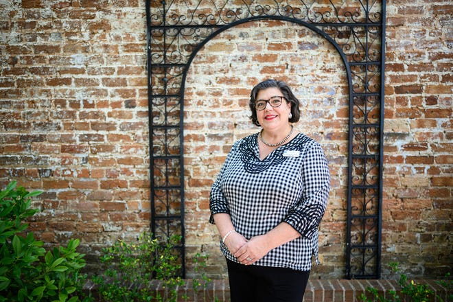 Fountain Inn Chamber of Commerce director  Marnie Schwartz-Hanley poses for a portrait Thursday, June 17, 2021.