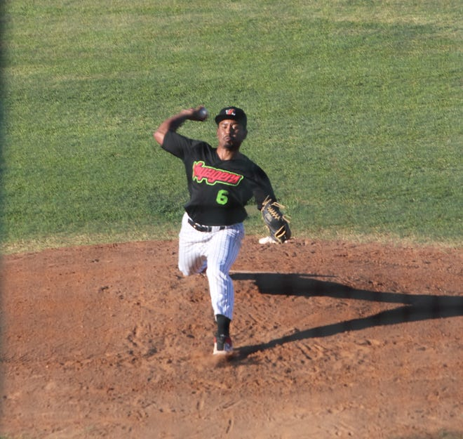 Great Falls Voyagers starting pitcher Damon Ellis delivers a pitch in the top of the second inning during Wednesday's Pioneer League game against Rocky Mountain at Centene Stadium.
