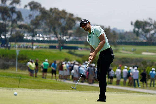 Patrick Rodgers putts on 15th green during the first round of the U.S. Open Golf Championship, Thursday, June 17, 2021, at Torrey Pines Golf Course in San Diego.