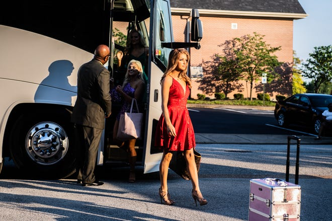 Alley Morgan, Miss Greene County and a Miss Tennessee Volunteer contestants, arrives at the Carl Perkins Civic Center on Wednesday, June 16, 2021 in Jackson, Tenn.
