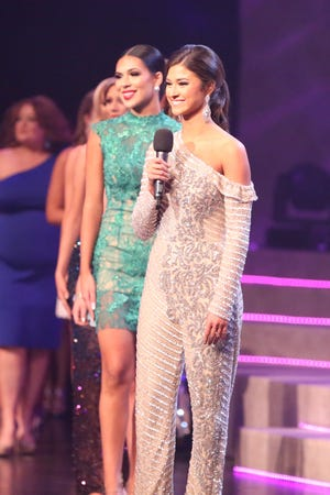 Allie Privitt, Miss Queen City, introducing herself during first night of Miss Tennessee Volunteer at the Carl Perkins Civic Center on Wednesday, June 16, 2021 in Jackson, Tenn.