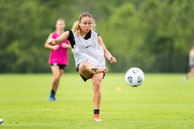 """The Athletic called Ebony Salmon, pictured, """"one of England's most exciting young stars."""" She will be available to play for Racing Louisville FC Sunday."""