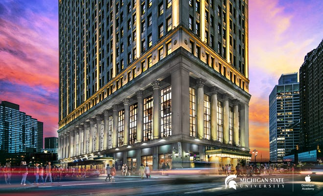 The Apple Developer Academy will be located inside the First National Building at 660 Woodward Ave. in Detroit, shown in a rendering.