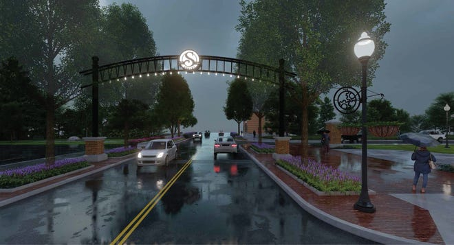 A rendering of the arch that will be built over Main Street in Shelby later this year.
