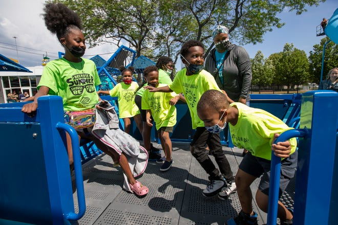 Kids play at the Northwestern Mutual Community Park on Summerfest grounds Thursday, June 17, 2021.