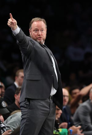 Head Coach Mike Budenholzer of the Milwaukee Bucks directs play during a game against the Brooklyn Nets at the Barclays Center on January 18, 2020 in New York City.
