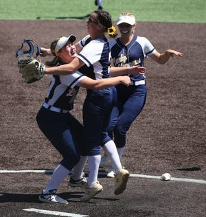 Clayton celebrates their NJSIAA Group 1 Softball Final victory with a 3-0 win over Whippany Park. The game was played at Seton Hall University in South Orange , NJ on June 17, 2021.