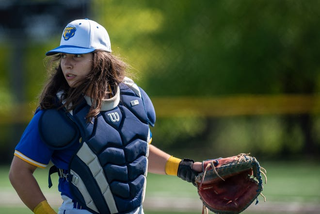 Alexia Jorge, a senior catcher on the Lyndhurst high school baseball team, plays a game in Lyndhurst on Thursday May 20, 2021.