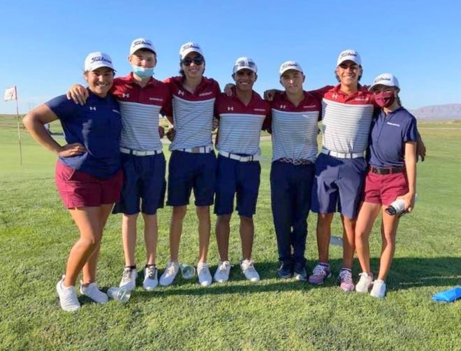Deming High golfers headed to the Class 5A State Tournament are, from left, Nicole Jasso, Tyler Jackson, Vari Mariscal, Jordan Cabellero, Riley Apodaca, Johnny Contreras and Erin Turner. The state tournament begins Monday at Arroyo del Oso Golf Course in Albuquerque.