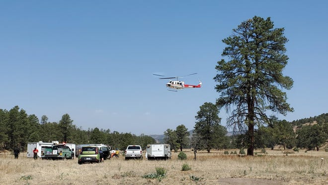 A Type Two (medium) helicopter assigned to the Johnson Fire in the Gila National Forest pictured Monday, June 14, 2021.
