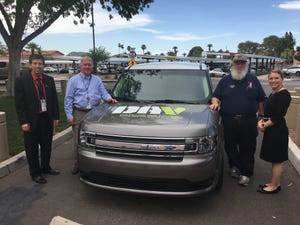 Volunteer Donald Luke (in hat) with former Southern Arizona VA Health Care System Director William Caron (from left); Steven Sample, SAVAHCS assistant director; and Mandy Martell, SAVAHCS Volunteer Services chief, in 2018.