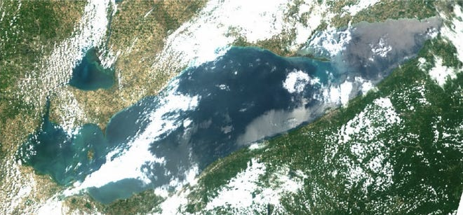 This true-color image from the Copernicus Sentinel-3a satellite shows  variations in color in the western basin, most of which is caused by sediment in the water.