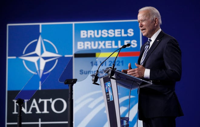 U.S. President Joe Biden gives a press conference after the NATO summit at the North Atlantic Treaty Organization headquarters in Brussels, on June 14, 2021. (Olivier Hoslet/Pool/AFP/Getty Images/TNS)