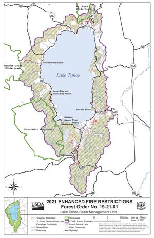 Enhanced campfire restrictions are in place through November in the Lake Tahe Basin.