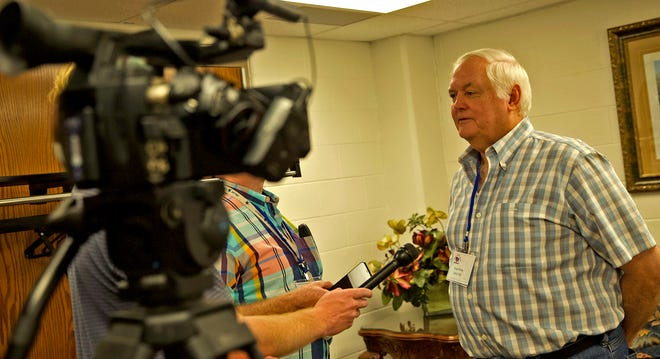 Former NFL coach Wade Phillips speaks to members of the media at the Angelo Football Clinic in the Junell Center on Thursday, June 17, 2021.