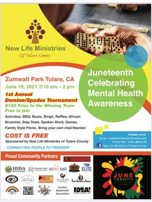 Tulare's New Life Ministries is hosting a Juneteenth celebration on Saturday, June 19, 2021 at Zumwalt Park.