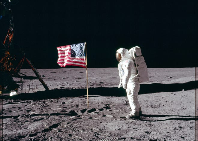 Apollo 11 astronaut Buzz Aldrin walks on the surface of the moon. Credit NASA