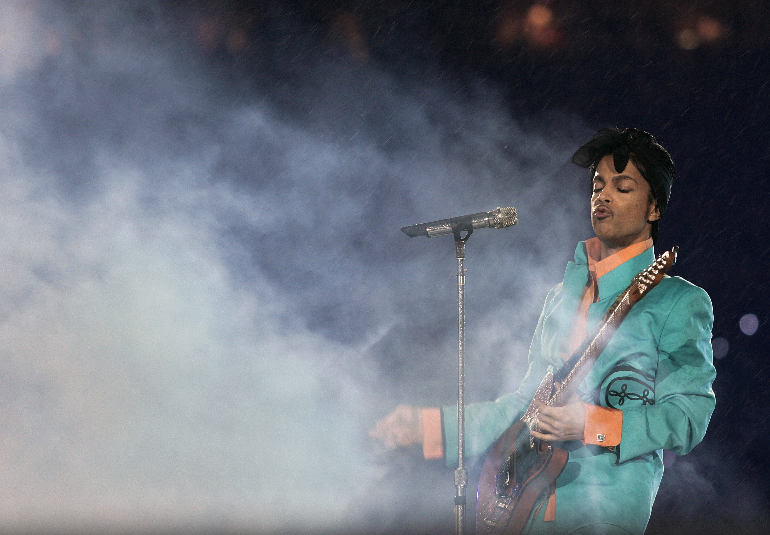 Prince performs in 2007 during half-time at the Super Bowl.