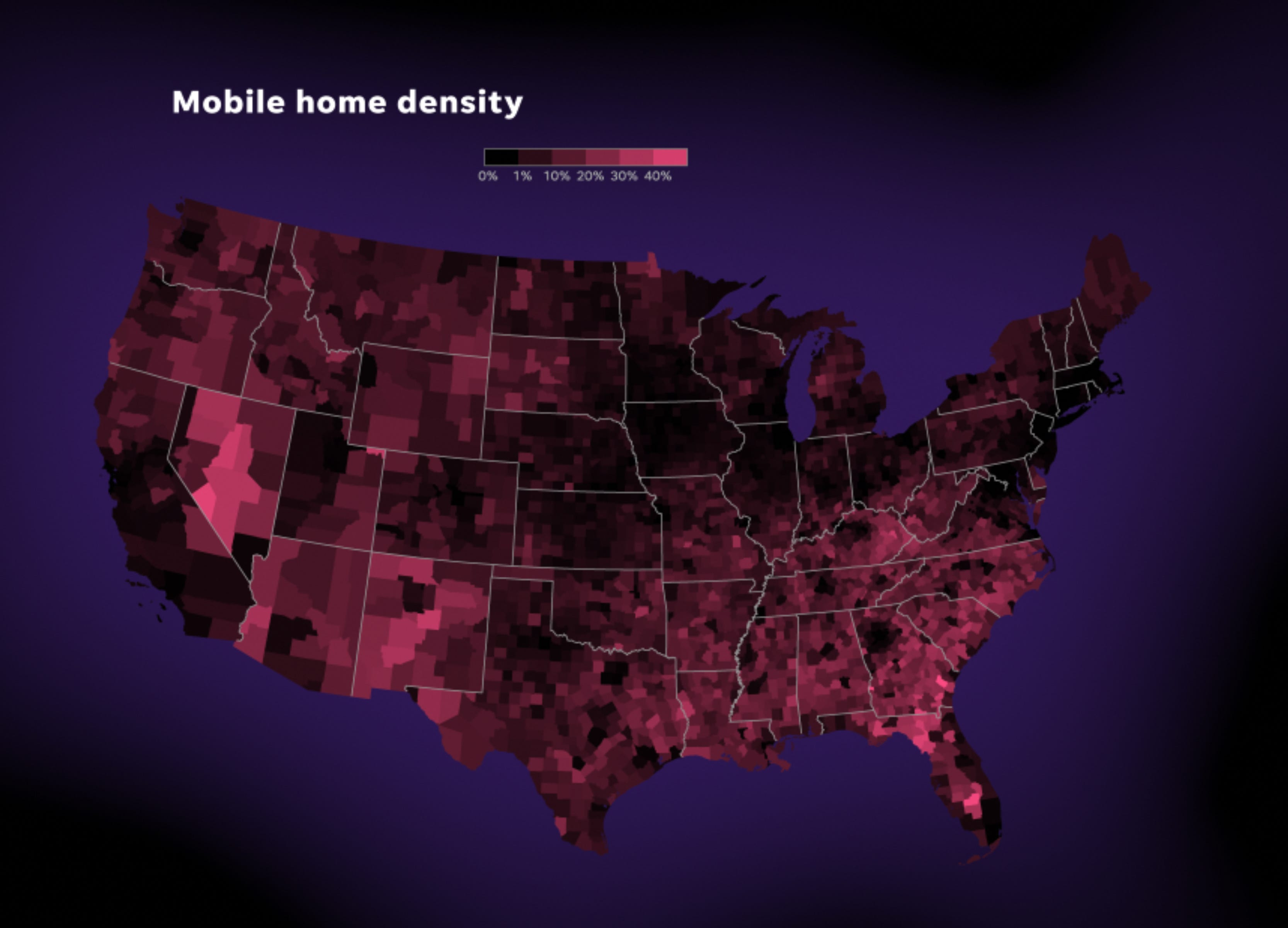US mobile home density.