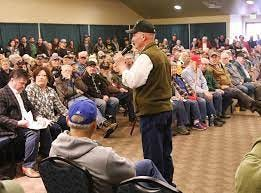 Mike McCarter, president of Citizens of Greater Idaho, speaks before an audience at one of the organization's events.