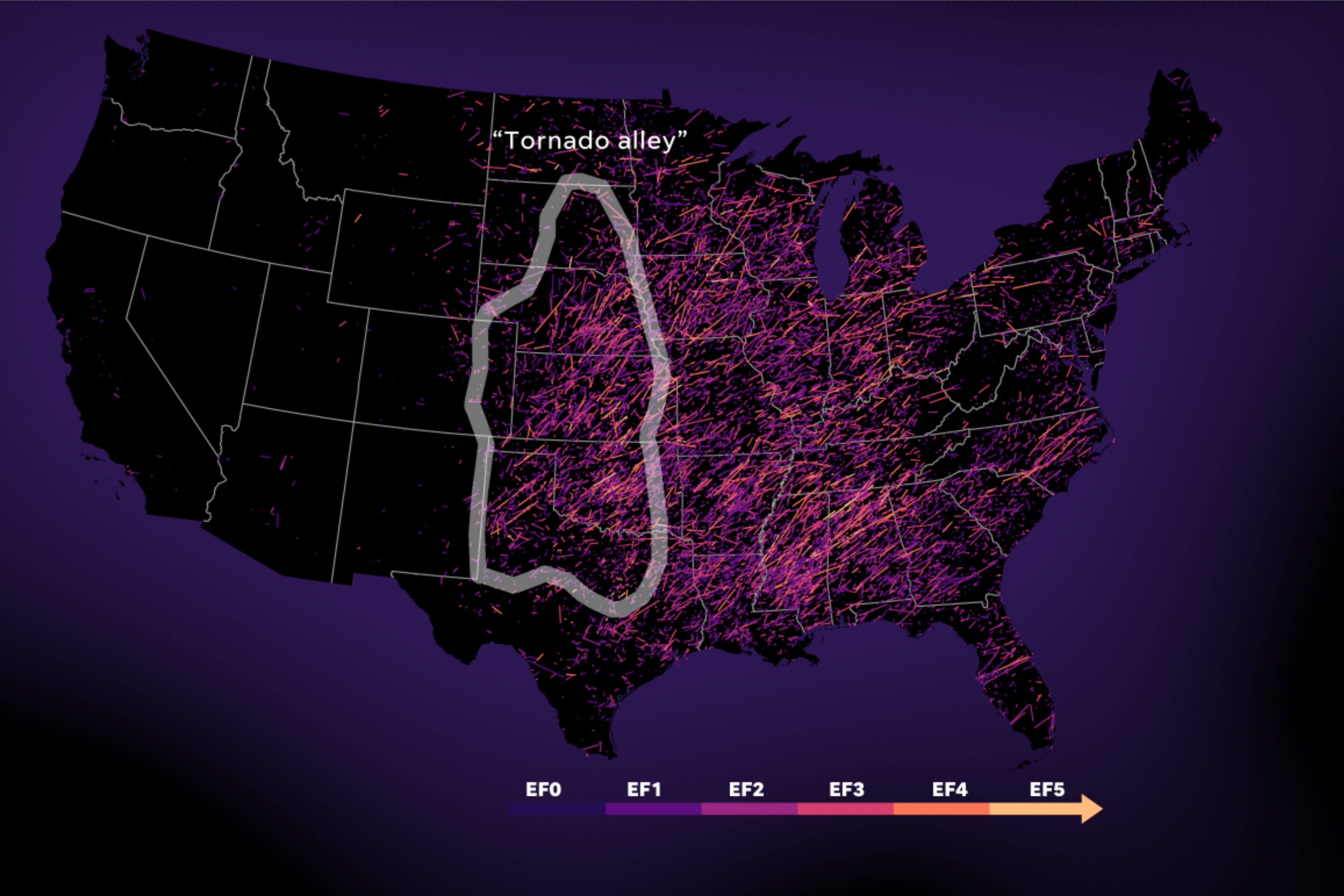 EF1 or greater tornadoes 1950-2019.
