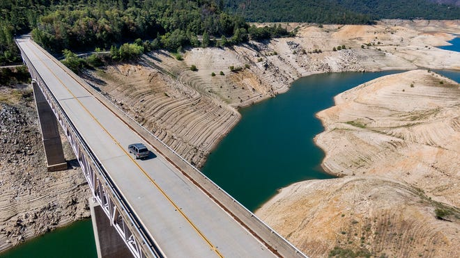Lake Oroville, a California reservoir, seen at historically low levels in May 2021.