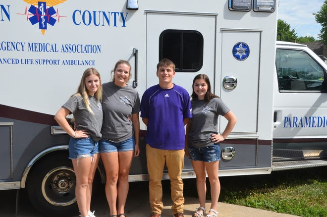Pictured from the left are: Gracie Chisum, Kyleigh Chisum, Gage Bayer and Abby Chisum. Bayer was presented the first Deputy Troy Chisum EMS Scholarship. The Scholarship is for any Canton High School graduate going into the EMS field, i.e. fire, police or EMT. Congratulations, Gage!