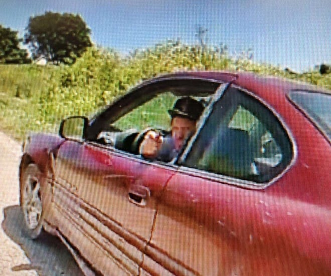 Still picture of man, taken from a Fredericktown Police officer's body-worn camera, who allegedly pointed a firearm during a Thursday afternoon traffic stop.