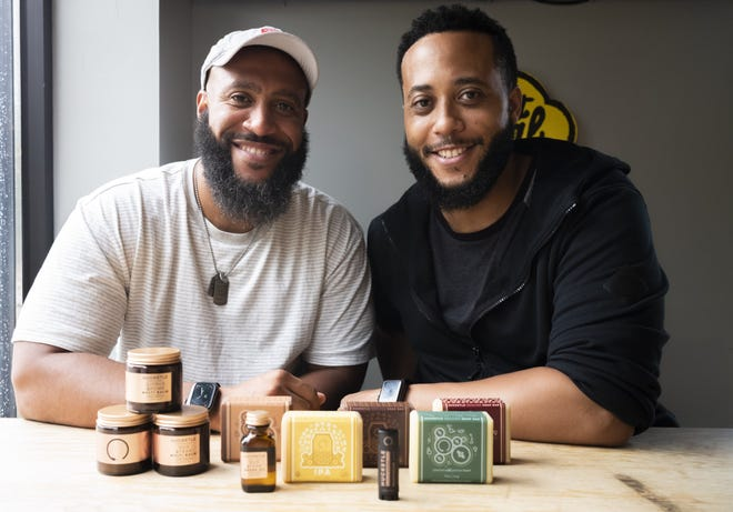 Huckstle founders Talan Taylor, left, and Taron Taylor, make personal care products. The brothers, who live in Westerville, recently collaborated with Land-Grant Brewing to create soap using their IPA and stout beers.