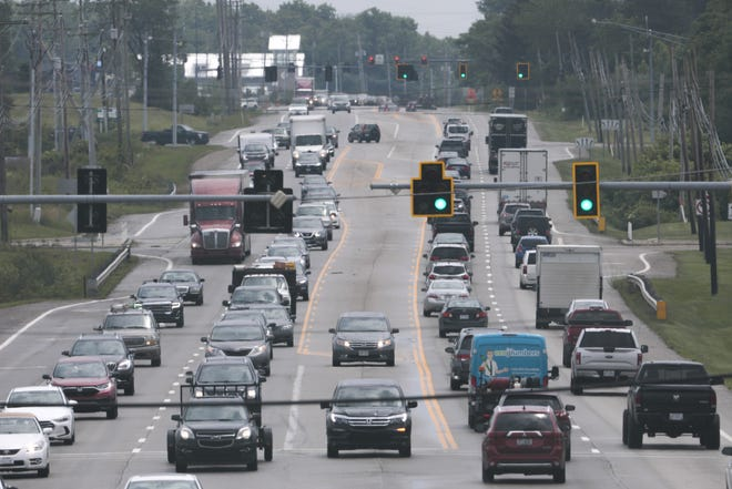Traffic on crawls down Route 23 near Corduroy Road in Lewis Center. State officials are conducting a study to determine how to alleviate traffic congestion along the road.