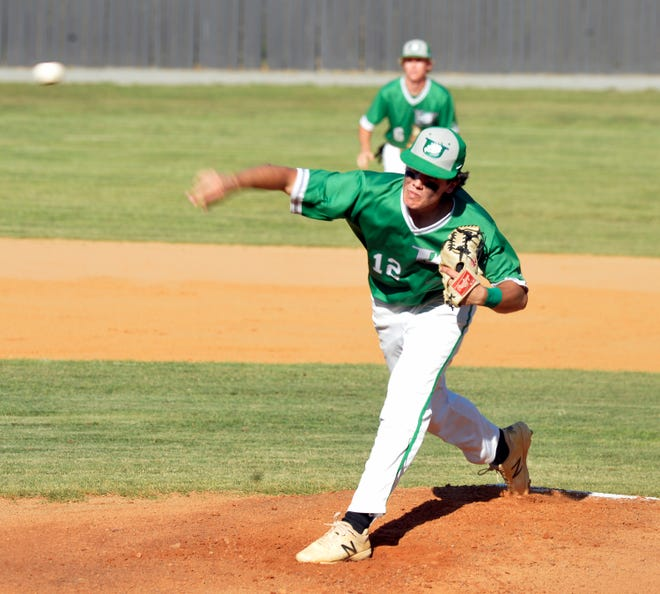 Uwharrie Charter's Colt Wilkins pitches against Murphy in the second round of the 1-A state playoffs on Tuesday. [Mike Duprez/Courier-Tribune]