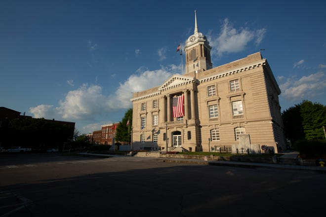 The day comes to an end on the Maury County Courthouse square in Columbia, Tenn., on Thursday, June 17, 2021.