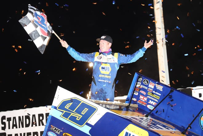 Brad Sweet Celebrates his World of Outlaws  NOS Energy  Drink 410 Sprint feature win at 34 Raceway Thursday.