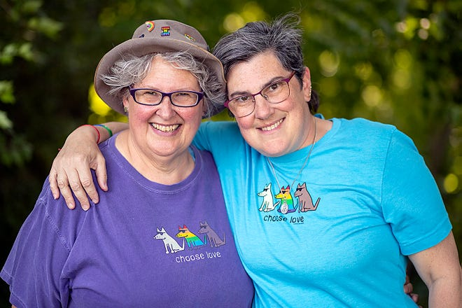 Darla Krejci, left, and Jeanette Chernin pose for a photo at the Galesburg Nature Center on Thursday at Lake Storey. Chernin is the vice presidentand secretary for PFLAG, and her partner Krejci is an at-large executive board member for the organization. Both were founding members of the Galesburg chapter when it launched in May 2019.