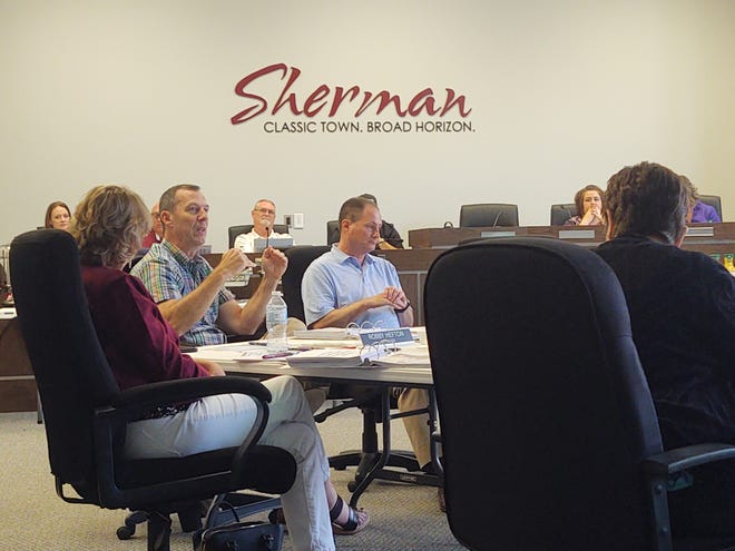 Sherman City Manager Robby Hefton talks during the city's annual budget retreat Thursday.