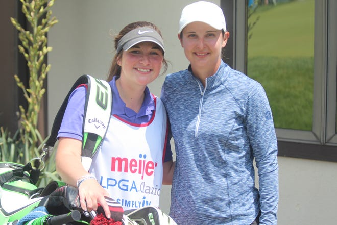 Lindy Duncan (right) poses with her caddy Aubree Crane (left)