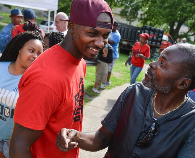 Former Peoria High and Bradley basketball player Marcellus Sommerville mingles with the crowd gathered for the Riding for a Safer Tomorrow event in 2016. Sommerville is scheduled to play in a Manual-Central alumni basketball game scheduled for June 19 at John Gwynn Park in Peoria.
