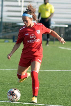 Brookelynn Entz plays for the FC Wichita Women of United Women's Soccer, a second-division team made up of college and high school all-stars. Entz is the all-time leading scorer for both Newton High School and Kansas State.