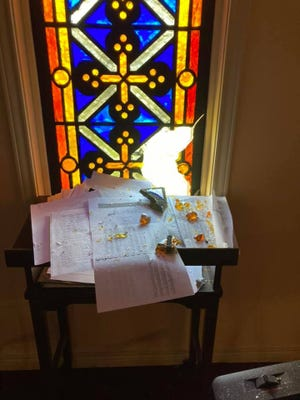 A stained glass window was broken during an overnight burglary last weekend at St. Andrew Greek Orthodox Church in Lubbock.