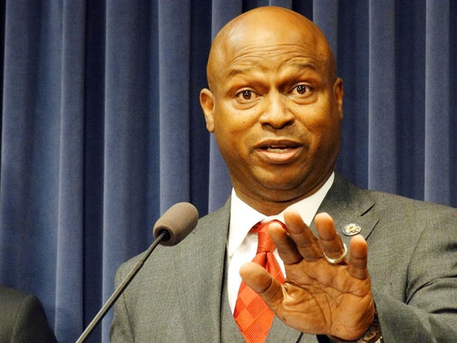 """House Speaker Emanuel """"Chris"""" Welch speaks at a news conference after the House adjourned Wednesday at the Illinois State Capitol."""