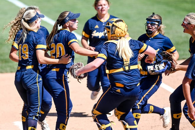 Gaylord celebrates the third Owosso out in the fourth inning on Thursday, June 17, 2021, during the D2 semifinal game at Secchia Stadium on the MSU campus in East Lansing.