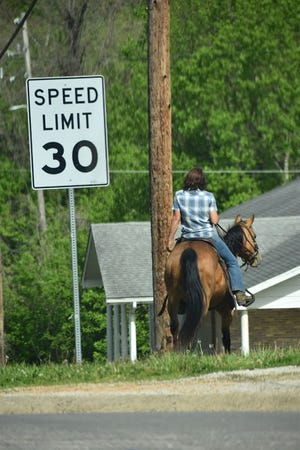 Riders are a common sight in Eminence. Many businesses have areas for horses to tie-up.