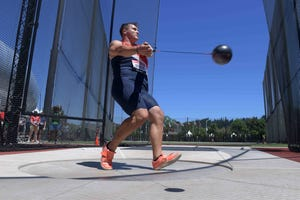 Rudy Winkler throws 259-7 in the hammer throw qualifying for the top mark during the U.S. Olympic Track & Field Trials at Hayward Field on Friday.
